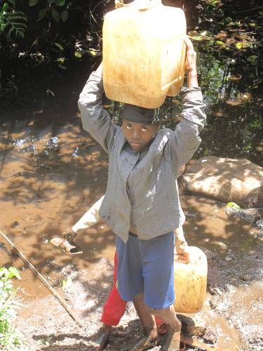 collecting river water